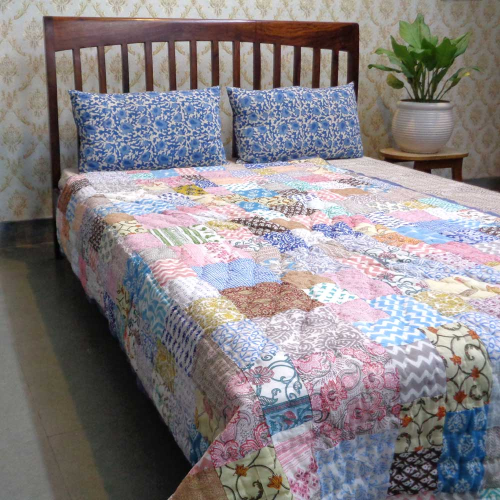 Hand Block Printed Cotton Patchwork Twin Size Quilt | 102962