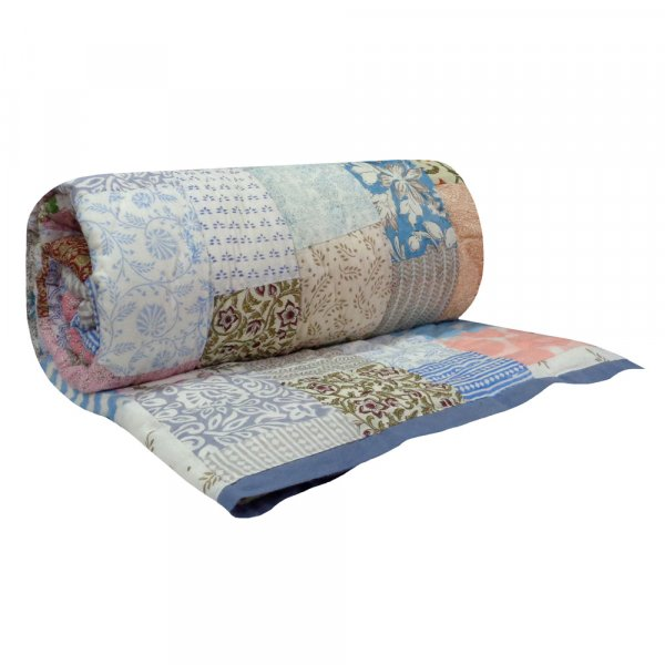 Hand Block Printed Cotton Patchwork Twin Size Quilt | 102966