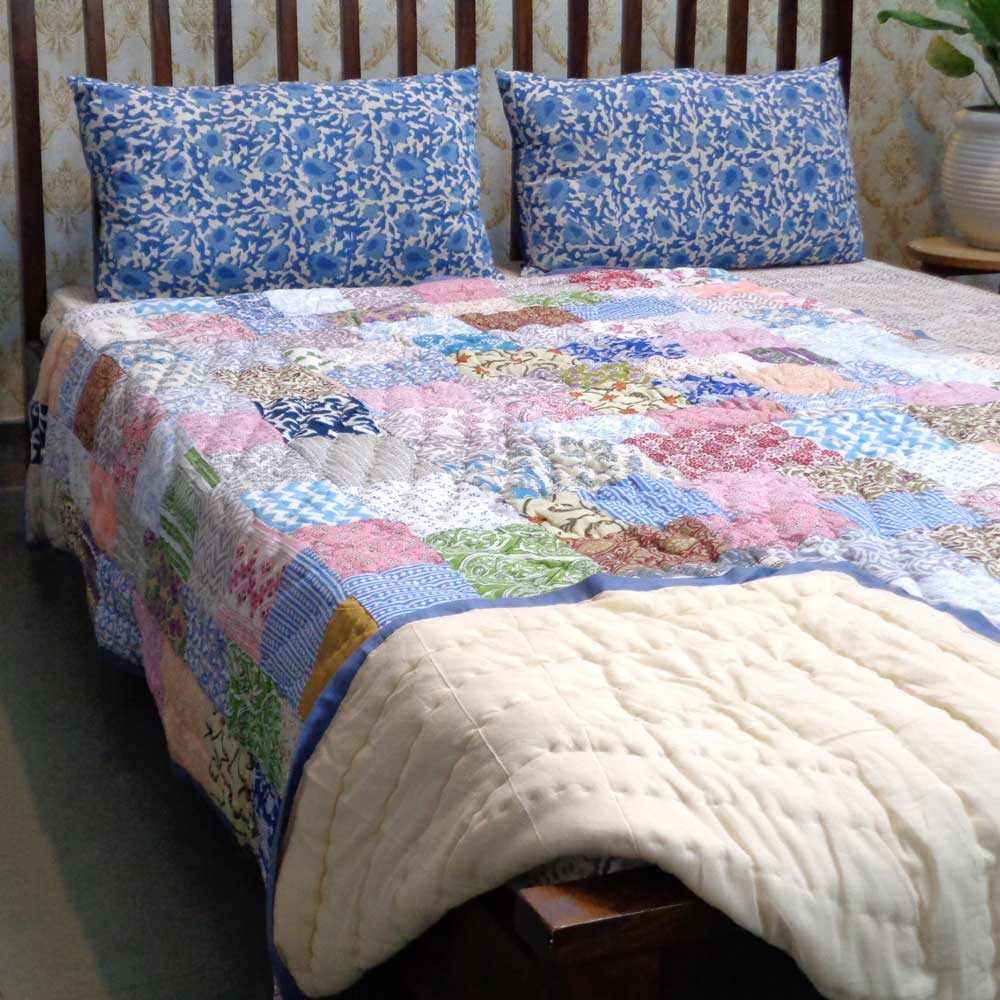 Hand Block Printed Cotton Patchwork Twin Size Quilt | 102968