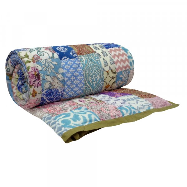 Hand Block Printed Cotton Patchwork Twin Size Quilt | 102970