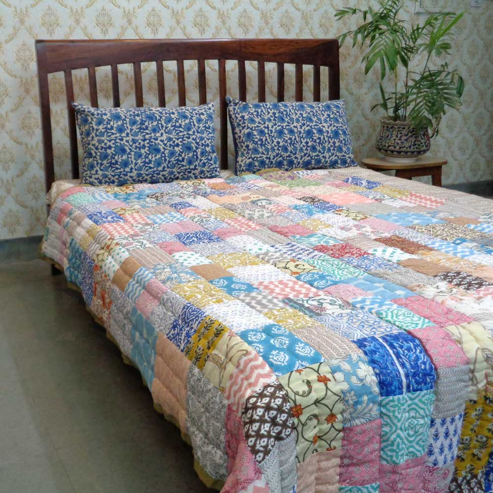 Hand Block Printed Patchwork Twin Size Quilt | 103036