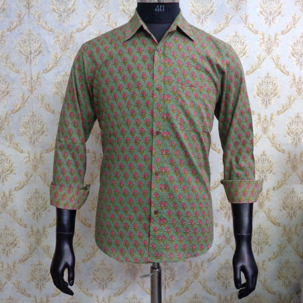Hand Block Printed Men's Shirt Full Sleeves Chest Size M40 | 201211