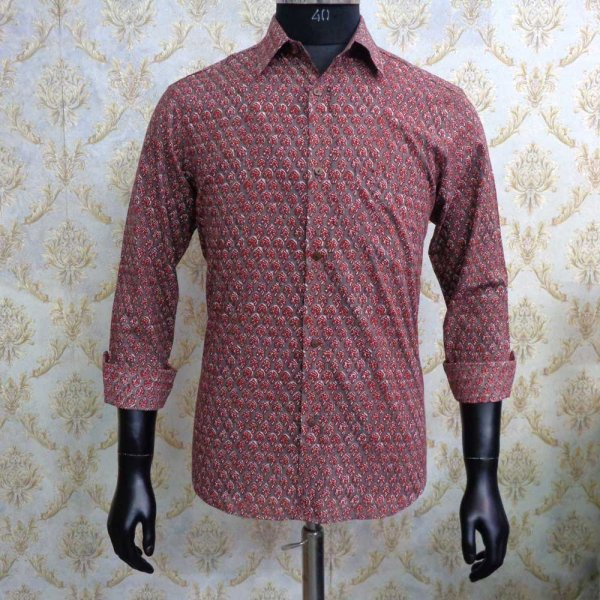 Hand Block Printed Men's Shirt Full Sleeves Chest Size M40 | 201218