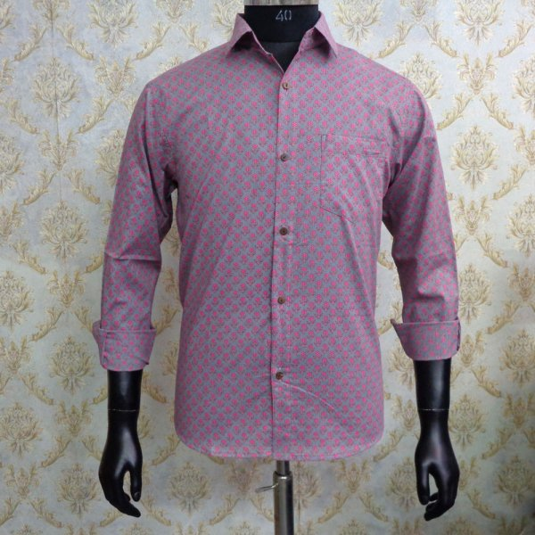 Hand Block Printed Men's Shirt Full Sleeves Chest Size M40 | 201236