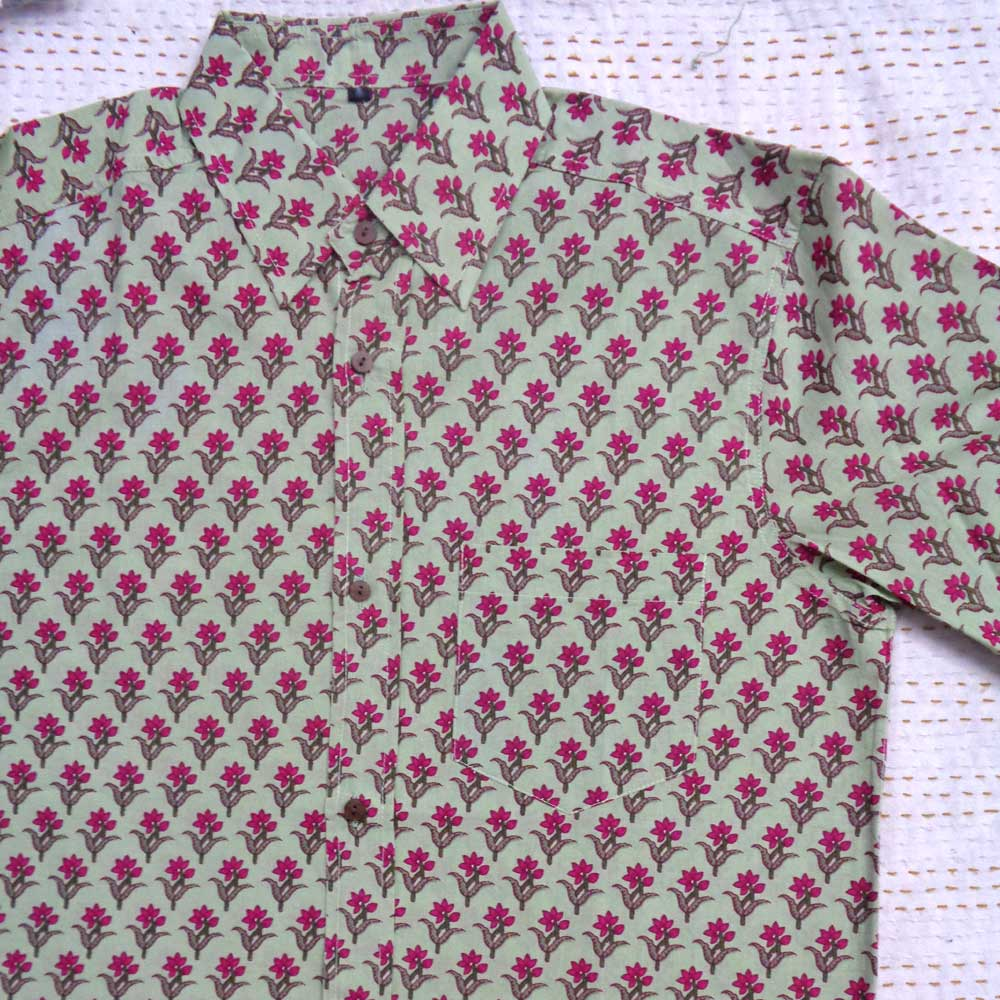 Hand Block Printed Men's Shirt Half Sleeves Chest Size XXL46 | 201418