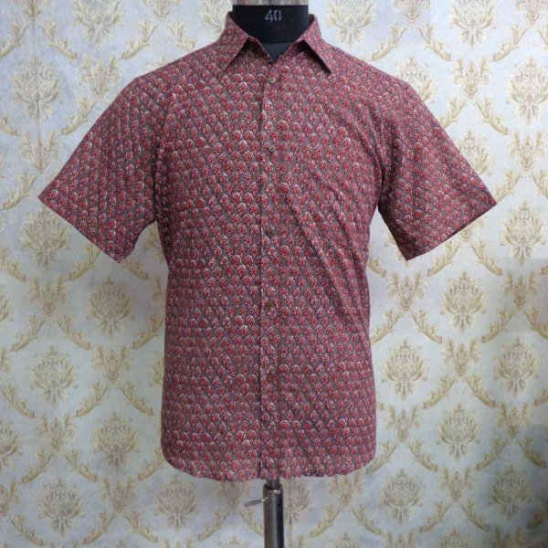 Hand Block Printed Men's Shirt Half Sleeves Chest Size XXL46 | 201425
