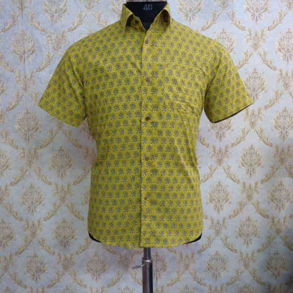 Hand Block Printed Men's Shirt Half Sleeves Chest Size XXL46 | 201439