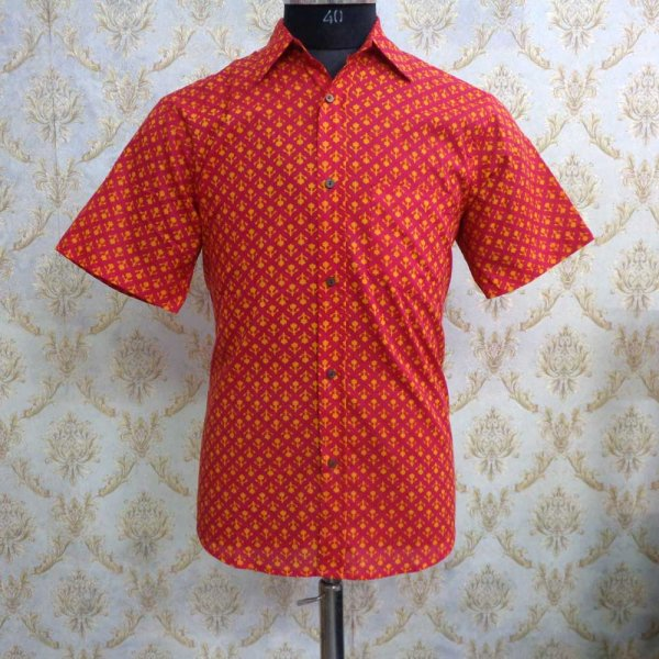 Hand Block Printed Men's Shirt Half Sleeves Chest Size S38 | 201451