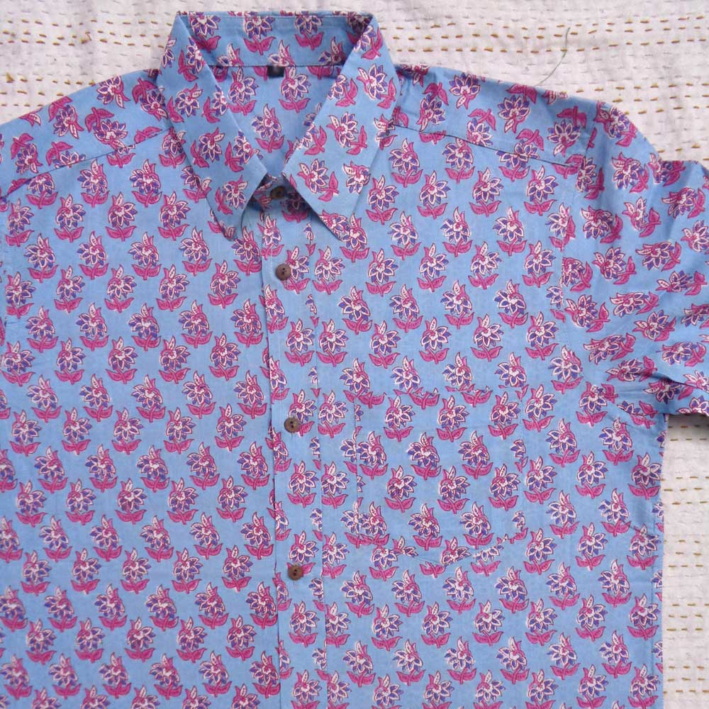 Hand Block Printed Men's Shirt Half Sleeves Chest Size XXL46 | 201468
