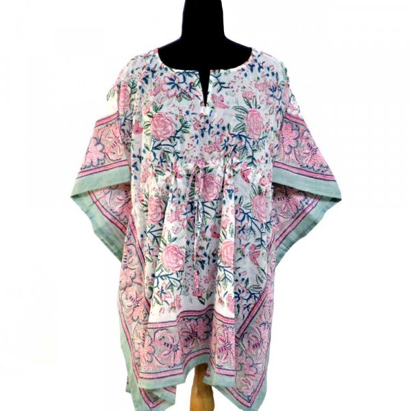 String Kaftan Free Size Indian Block-Printed on Soft Cotton Voile | Naya Gulab Open 106938