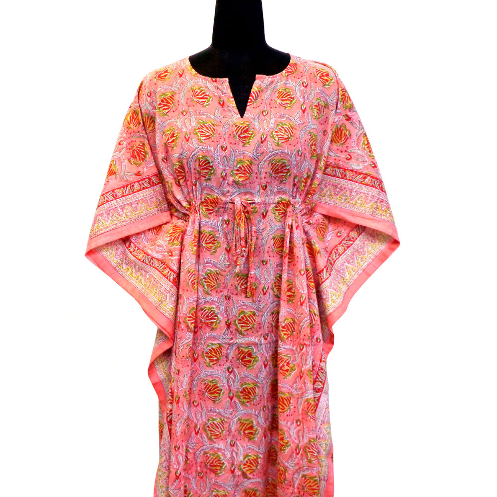 Long Size Kaftan Free Size Indian Block-Printed Loungewear in Soft Cotton Voile | Frost Pink Floral Gud 103199