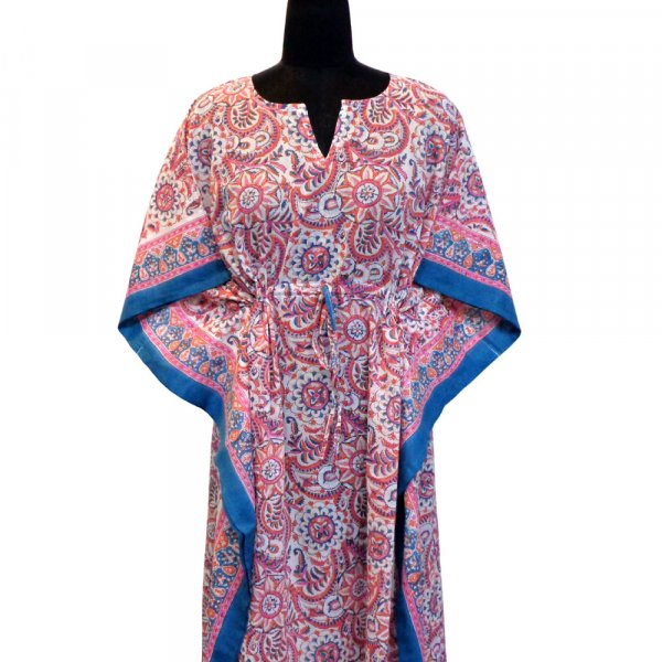 Long Size Kaftan Free Size Indian Block-Printed Loungewear in Soft Cotton Voile | Kusum Gulabi 103234