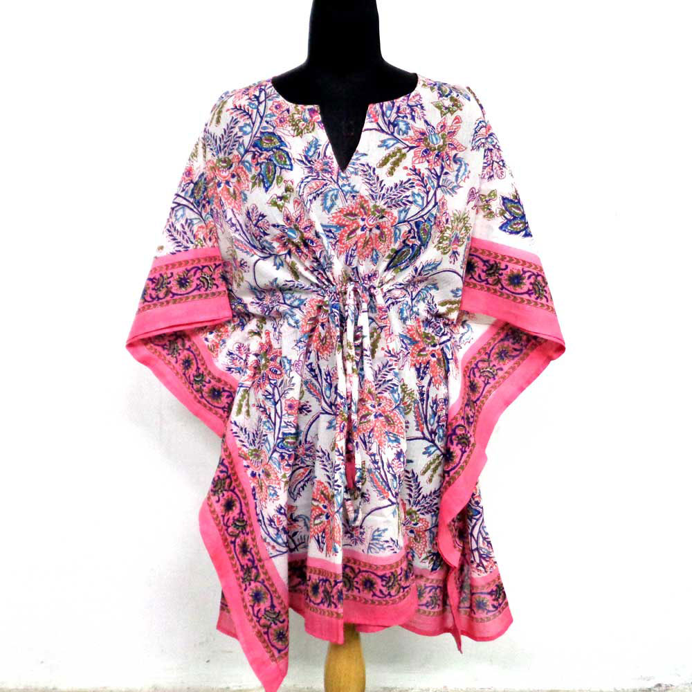 String Kaftan Free Size Indian Block-Printed on Soft Cotton Voile | Misty Pink Open 102520