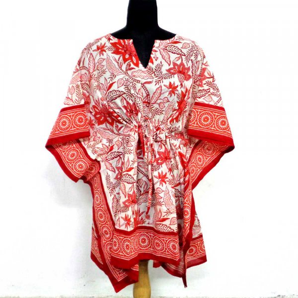 String Kaftan Free Size Indian Block-Printed on Soft Cotton Voile | Bossanova Red Open 102528