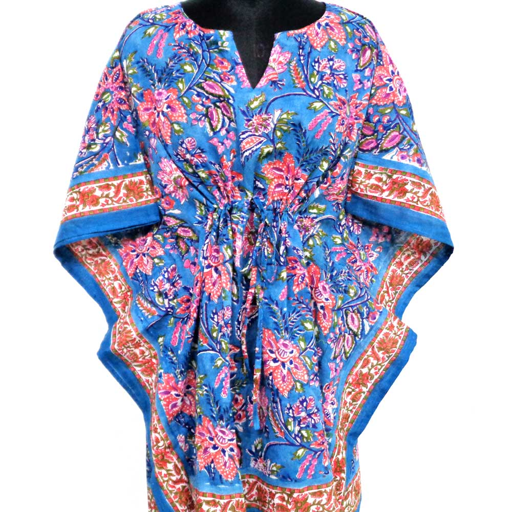 String Kaftan 102532 Free Size Indian Block-Printed on Soft Cotton Voile