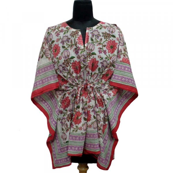 String Kaftan 103883 Free Size Indian Block-Printed on Soft Cotton Voile