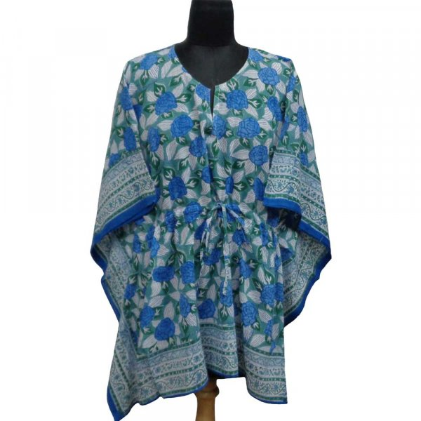 String Kaftan 103905 Free Size Indian Block-Printed on Soft Cotton Voile