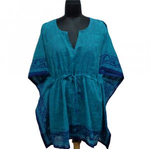 String Kaftan 104098 Free Size Indian Block-Printed on Soft Cotton Voile
