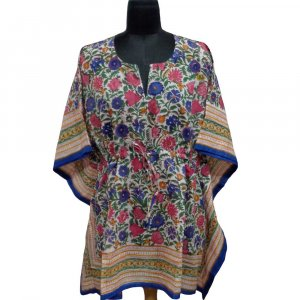 String Kaftan 104128 Free Size Indian Block-Printed on Soft Cotton Voile
