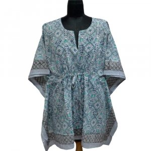 String Kaftan 104151 Free Size Indian Block-Printed on Soft Cotton Voile