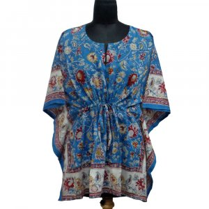 String Kaftan 104242 Free Size Indian Block-Printed on Soft Cotton Voile