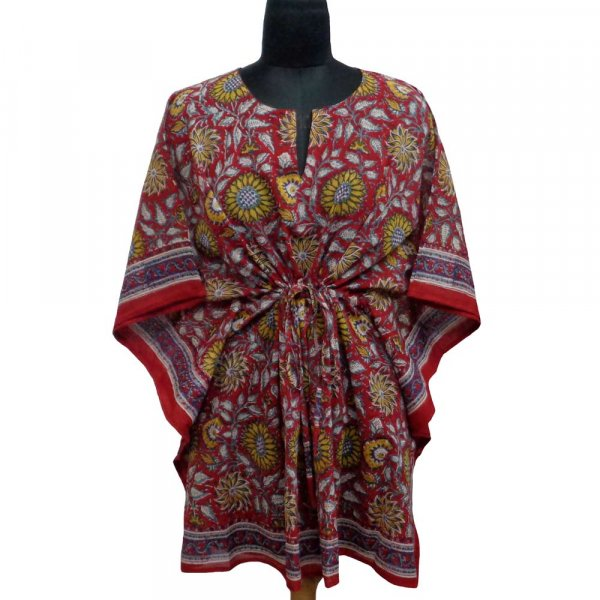 String Kaftan 104116 Free Size Indian Block-Printed on Soft Cotton Voile