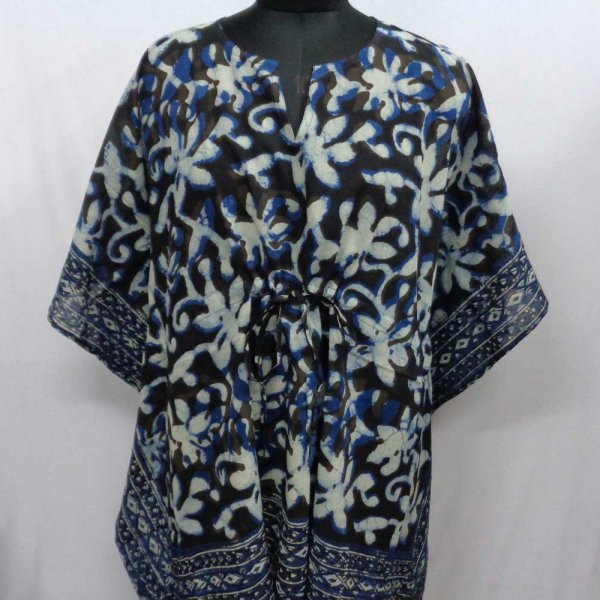 String Kaftan 2806 Free Size Indian Block-Printed on Soft Cotton Voile