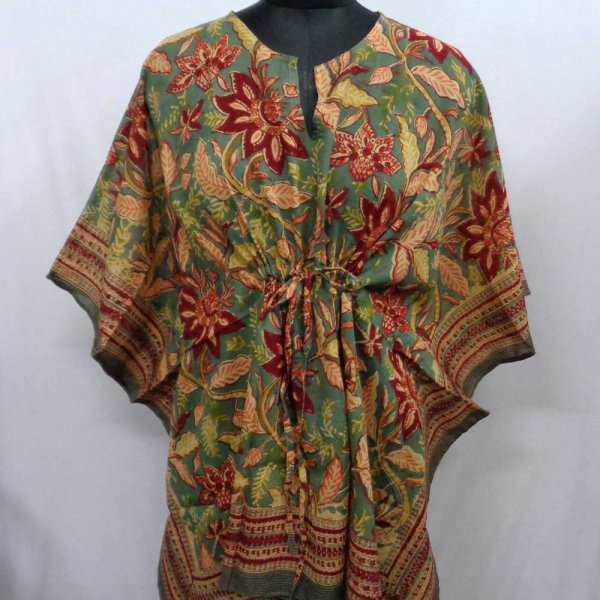 String Kaftan 2854 Free Size Indian Block-Printed on Soft Cotton Voile
