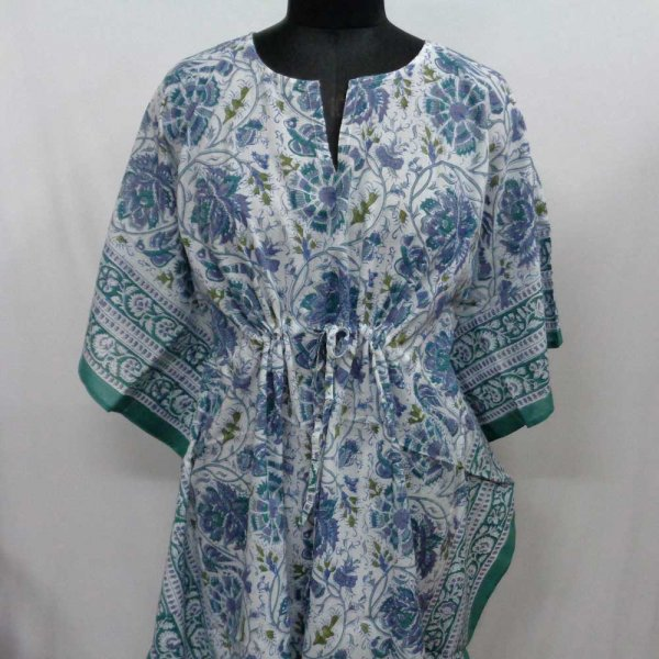 String Kaftan 2872 Free Size Indian Block-Printed on Soft Cotton Voile