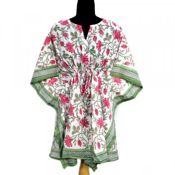 String Kaftan Free Size Indian Block-Printed on Soft Cotton Voile | Cornflower Blue Open 105461
