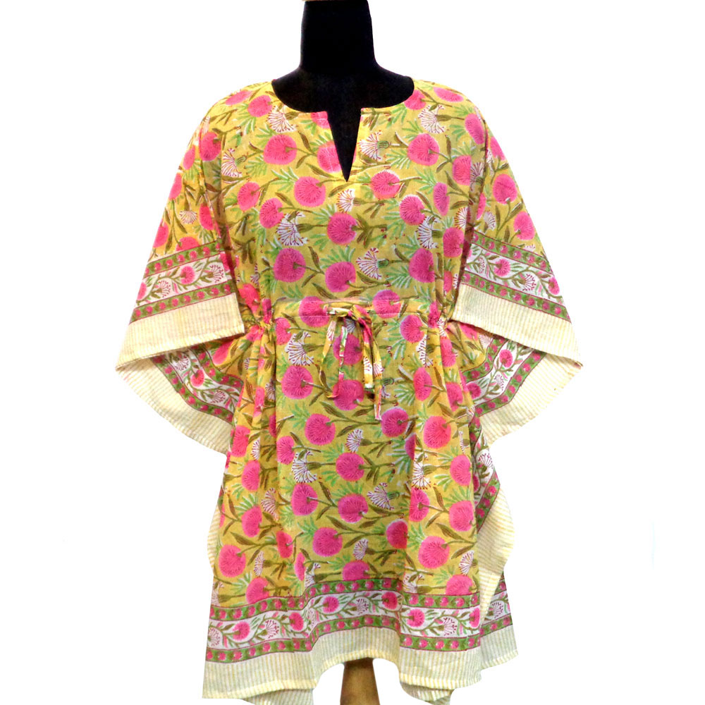 String Kaftan Free Size Indian Block-Printed on Soft Cotton Voile | Desert Blossom Pink Gud 100148