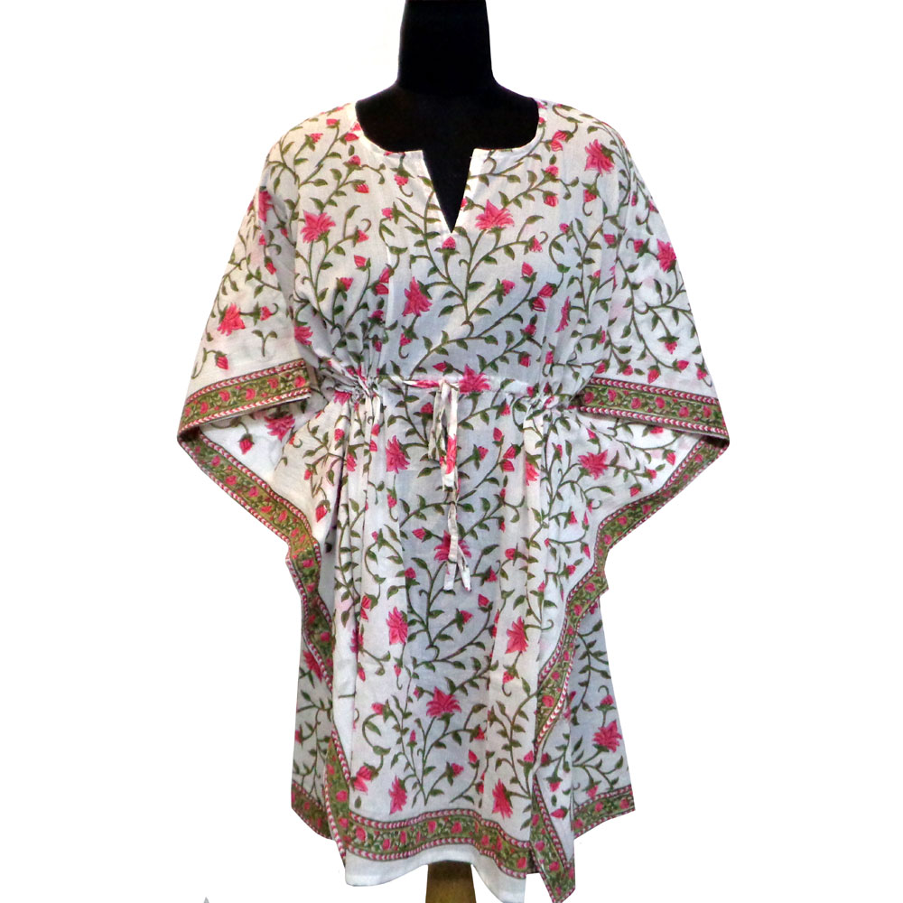String Kaftan Free Size Indian Block Printed on Soft Cotton Voile | Floral Bale Pink 105039
