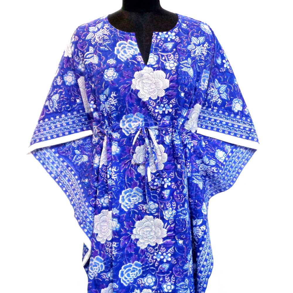 String Kaftan Free Size Indian Block-Printed on Soft Cotton Voile | Floral Canvas Brandies Blue Gud 100132