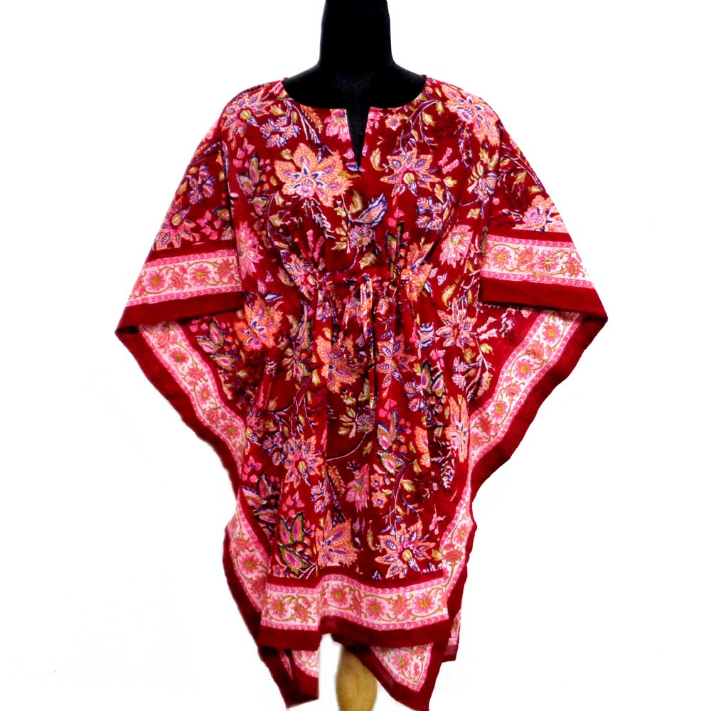 String Kaftan Free Size Indian Block-Printed on Soft Cotton Voile | Misty Red Gud 106953