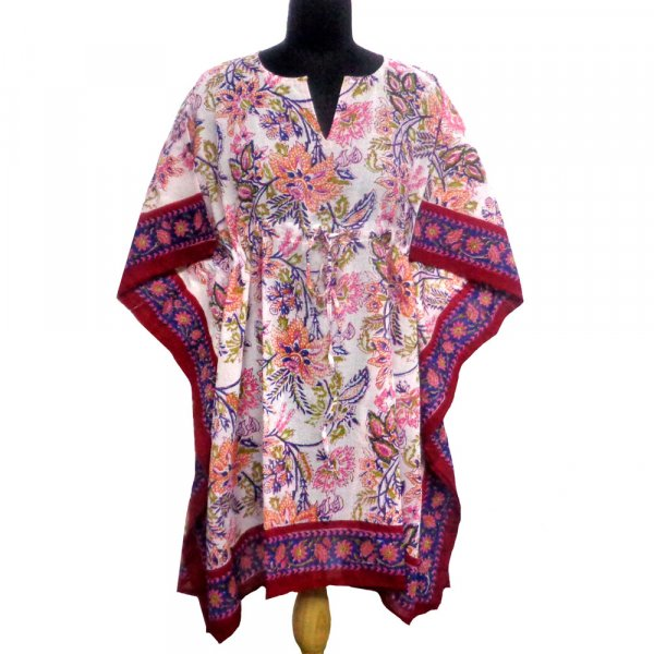 String Kaftan Free Size Indian Block-Printed on Soft Cotton Voile | Misty Red Open 109103