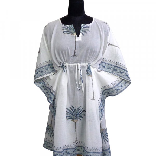 String Kaftan Free Size Indian Block Printed on Soft Cotton Voile | Palm Tree Blue 204009