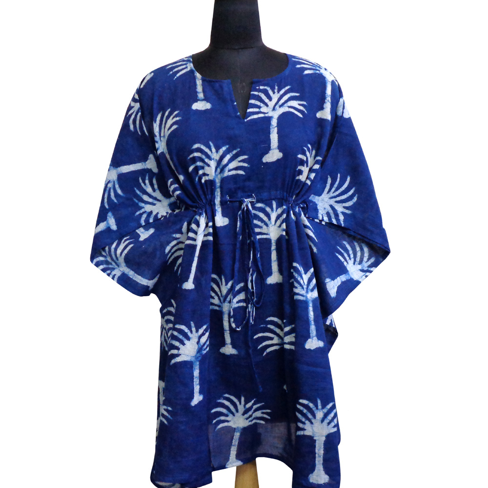 String Kaftan Free Size Indian Block Printed on Soft Cotton Voile | Palm Tree White On Blue 203989