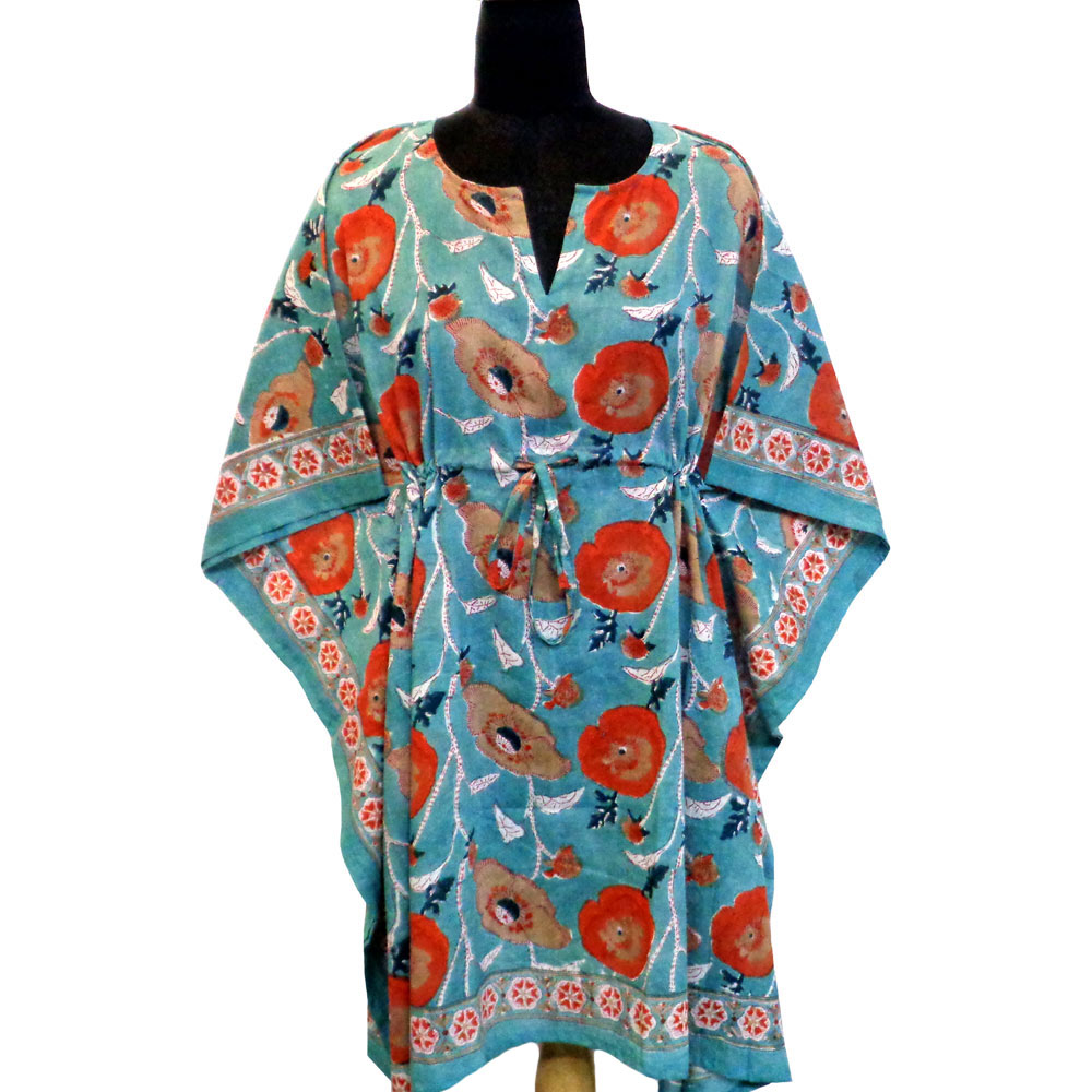 String Kaftan Free Size Indian Block-Printed on Soft Cotton Voile | Teal Flower Gud 100140