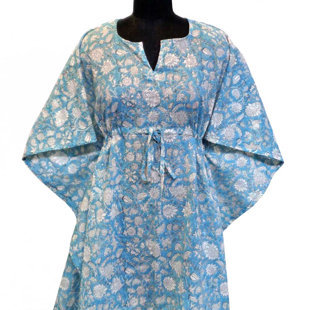 String Kaftan Free Size Indian Block-Printed on Soft Cotton Voile | Turq Flower 102614