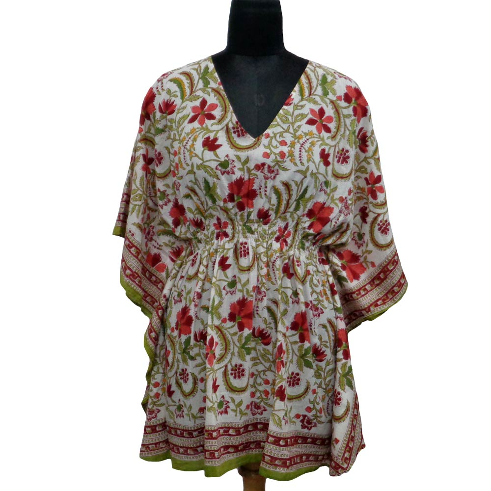 Elastic belt Cotton Kaftan, 2216 Free Size Indian Block-Printed on Soft Cotton Voile