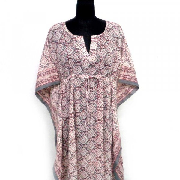 Long Size Kaftan 100895 Free Size Indian Block-Printed Loungewear in Soft Cotton Voile 1000 Summary