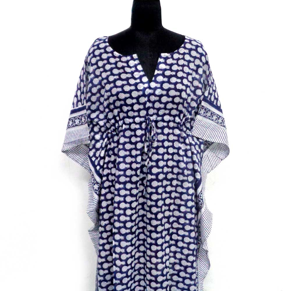 Long Size Kaftan 100903 Free Size Indian Block-Printed Loungewear in Soft Cotton Voile 1000 Summary