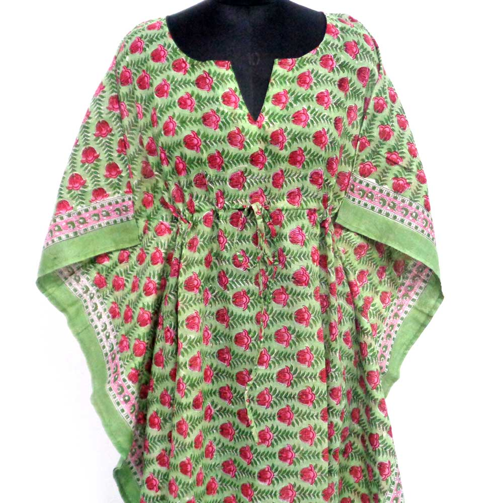 Long Size Kaftan 100932 Free Size Indian Block-Printed Loungewear in Soft Cotton Voile 1000 Summary