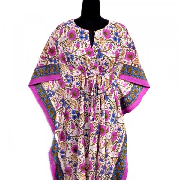 Long Size Kaftan Free Size Indian Block-Printed Loungewear in Soft Cotton Voile | Jamun Phool 105403