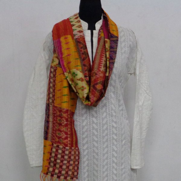 Hand Embroidered Cotton Kantha Silk Stole (Reversible) | 102210