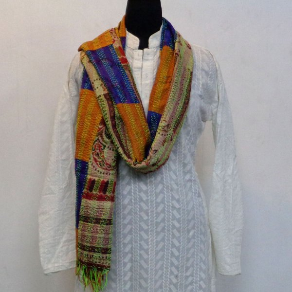 Hand Embroidered Cotton Kantha Silk Stole (Reversible) | 102264