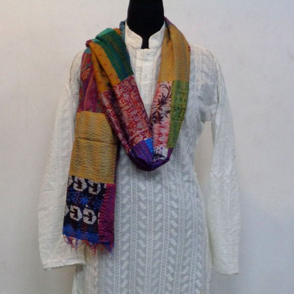 Hand Embroidered Cotton Kantha Silk Stole (Reversible) | 102281