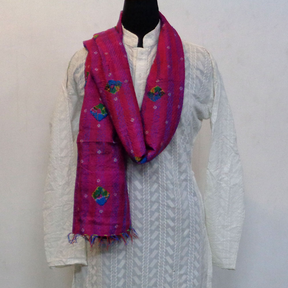 Hand Embroidered Cotton Kantha Silk Stole (Reversible) | 102296