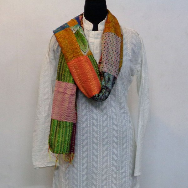 Hand Embroidered Cotton Kantha Silk Stole (Reversible) | 102306