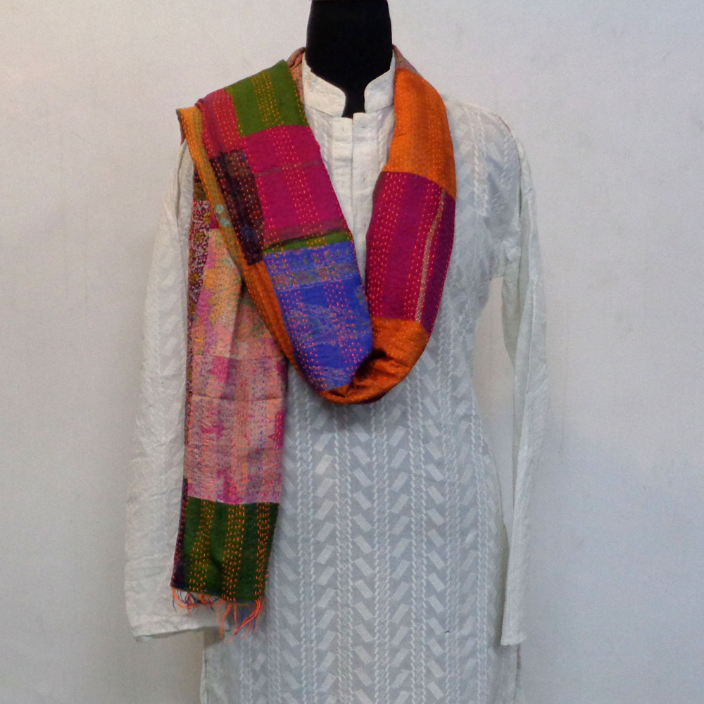 Hand Embroidered Cotton Kantha Silk Stole (Reversible) | 102314
